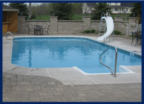 renovated pool with slide