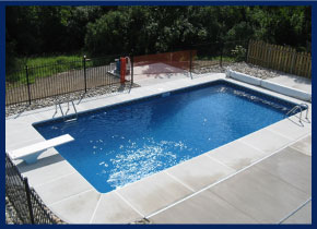 installed pool with diving board